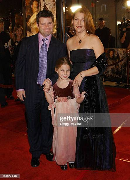 Sean Astin wife Christine and daughter Alexandra during The Lord Of The RingsThe Return Of The King Los Angeles Premiere at Mann Village Theatre in...