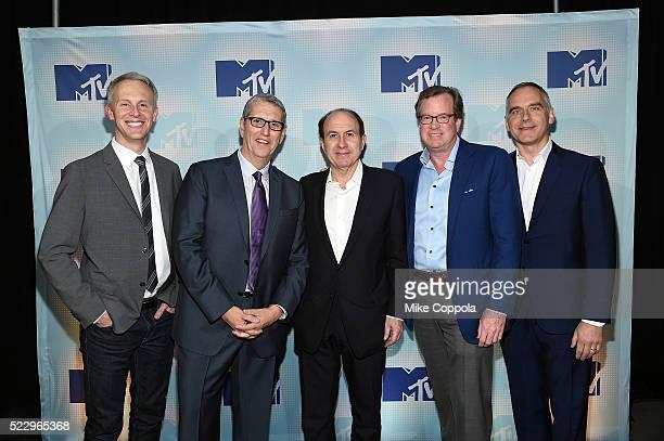 Sean Atkins Doug Herzog Philippe Dauman Thomas E Dooley and Erik Flannigan attend the 2016 MTV Upfront at Skylight At Moynihan Station at Skylight at...