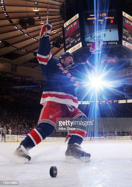 Sean Avery of the New York Rangers celebrates the goal of Brendan Shanahan in the third period against the Buffalo Sabres during Game Four of the...