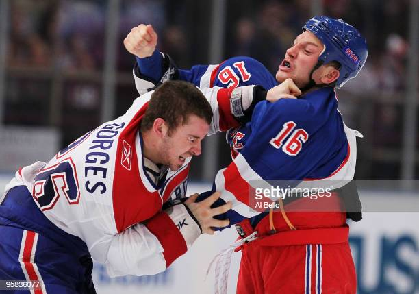 Sean Avery of the New York Rangers fights Josh Gorges of the Montreal Canadiens during their game on January 17 2010 at Madison Square Garden in New...