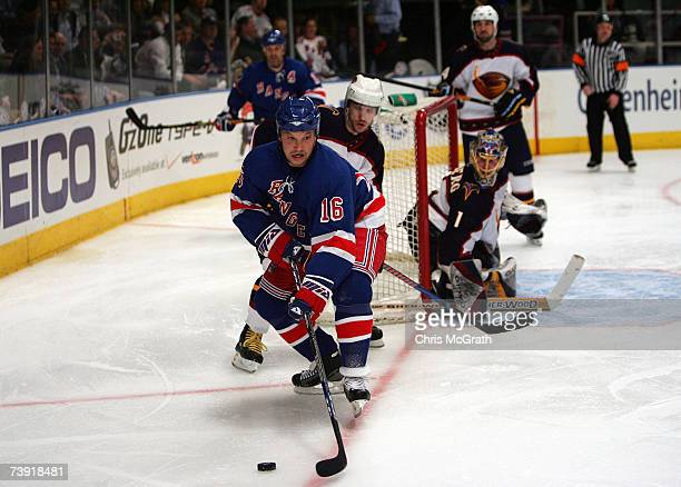 Sean Avery of the New York Rangers handles the puck against the Atlanta Thrashers during the second period of game four of the 2007 Eastern...