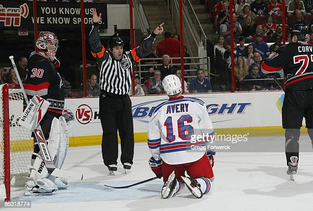 Sean Avery of the New York Rangers is sent to the penalty box by Referee Marc Joannette during a NHL game against the Carolina Hurricanes on March 9...