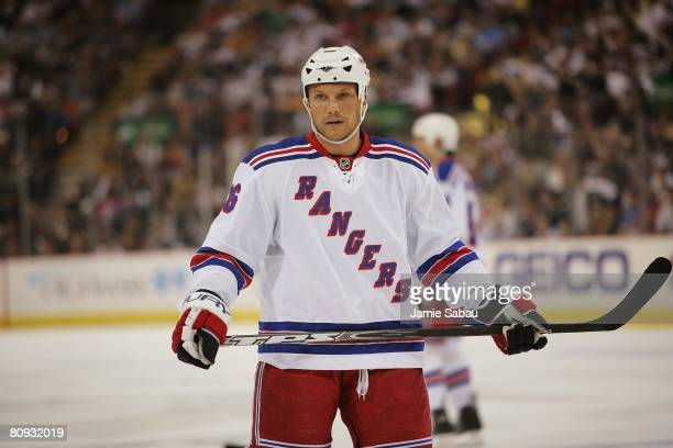 Sean Avery of the New York Rangers waits for a face off against the Pittsburgh Penguins during game two of the Eastern Conference Semifinals of the...