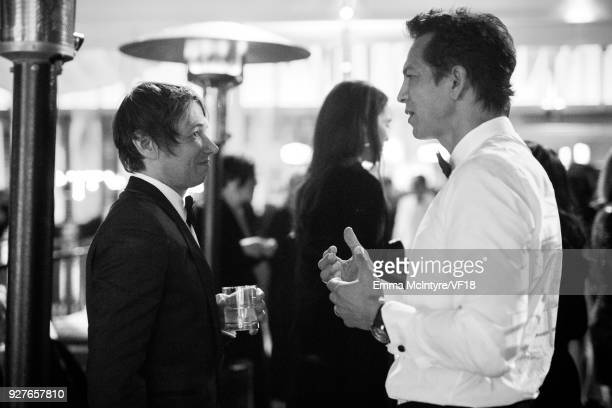 Sean Baker and Benjamin Bratt attend the 2018 Vanity Fair Oscar Party hosted by Radhika Jones at Wallis Annenberg Center for the Performing Arts on...