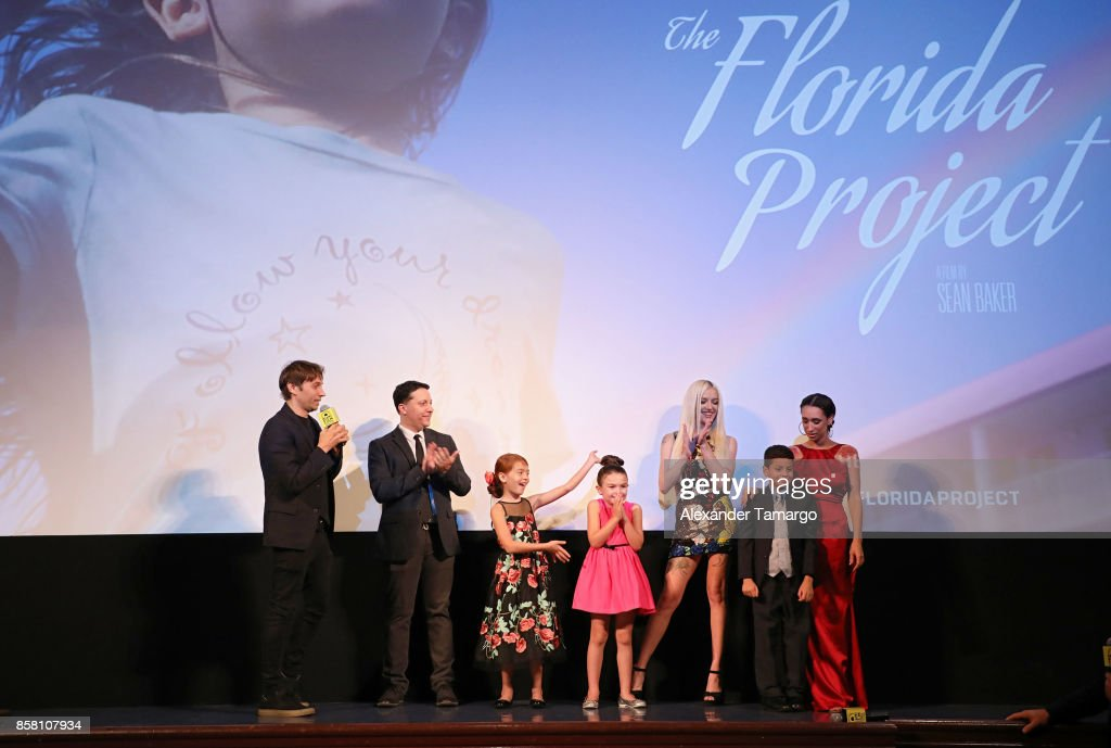 Sean Baker, Chris Bergoch, Valeria Cotto, Brooklynn Prince, Bria Vinaite, Christopher Rivera and Mela Murder are seen at the Tower Theater during 'THE FLORIDA PROJECT' Miami Premiere Q&A on October 5, 2017 in Miami, Florida.
