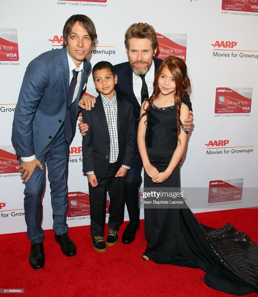 Sean Baker, Christopher Rivera, Willem Dafoe and Valeria Cotto attend the AARP's 17th Annual Movies For Grownups Awards on February 05, 2018 in Beverly Hills, California.