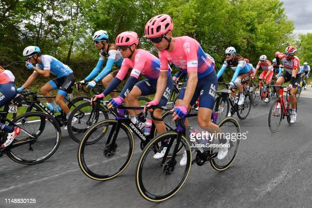 Sean Bennett of The United States and Team EF Education First / Matti Breschel of Denmark and Team EF Education First / Ben Gastauer of Luxembourg...