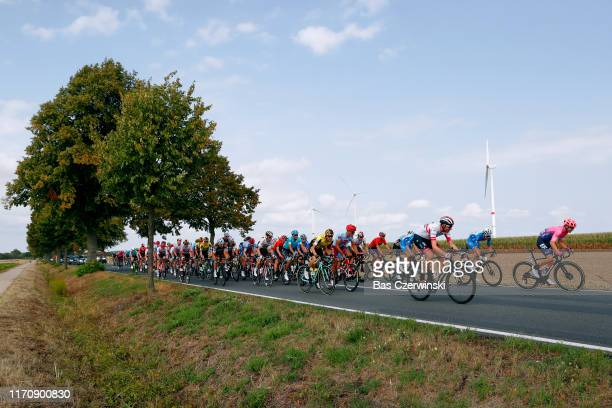 Sean Bennett of The United States and Team EF Education First / Vegard Stake Laengen of Norway and UAE Team Emirates / Dominik Bauer of Germany and...