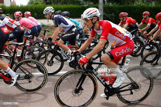 Sean Bennett of The United States and Team Qhubeka NextHash & Guillaume Martin of France and Team Cofidis during the 108th Tour de France 2021, Stage...