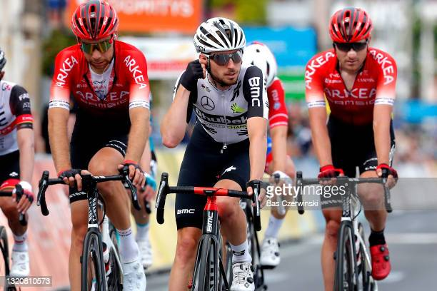 Sean Bennett of United States and Team Qhubeka Assos at arrival during the 73rd Critérium du Dauphiné 2021, Stage 1 a 181,8km stage from Issoire to...