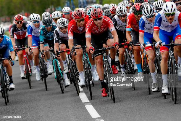 Sean Bennett of United States and Team Qhubeka Assos, Clement Russo of France and Team Arkéa - Samsic & Carlos Barbero Cuesta of Spain and Team...