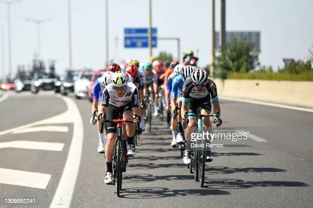 Sean Bennett of United States and Team Qhubeka Assos & Tanel Kangert of Estonia and Team BikeExchange during the 100th Volta Ciclista a Catalunya...