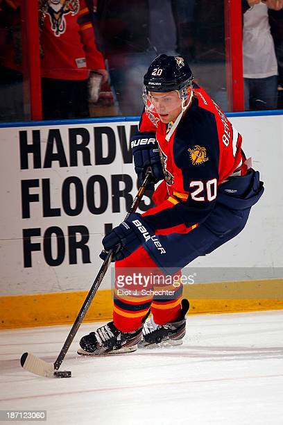 Sean Bergenheim of the Florida Panthers skates on the ice prior to the start of the game against the Buffalo Sabres at the BBT Center on October 25...