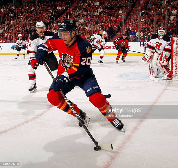 Sean Bergenheim of the Florida Panthers skates with the puck against the the New Jersey Devils in Game Five of the Eastern Conference Quarterfinals...