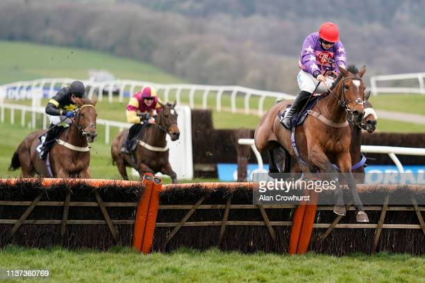 Sean Bowen riding Deadringerforlove clear the last to win The Faucets Introducing Intelligent Care From Rada Mares' Novices' Hurdle at Chepstow...