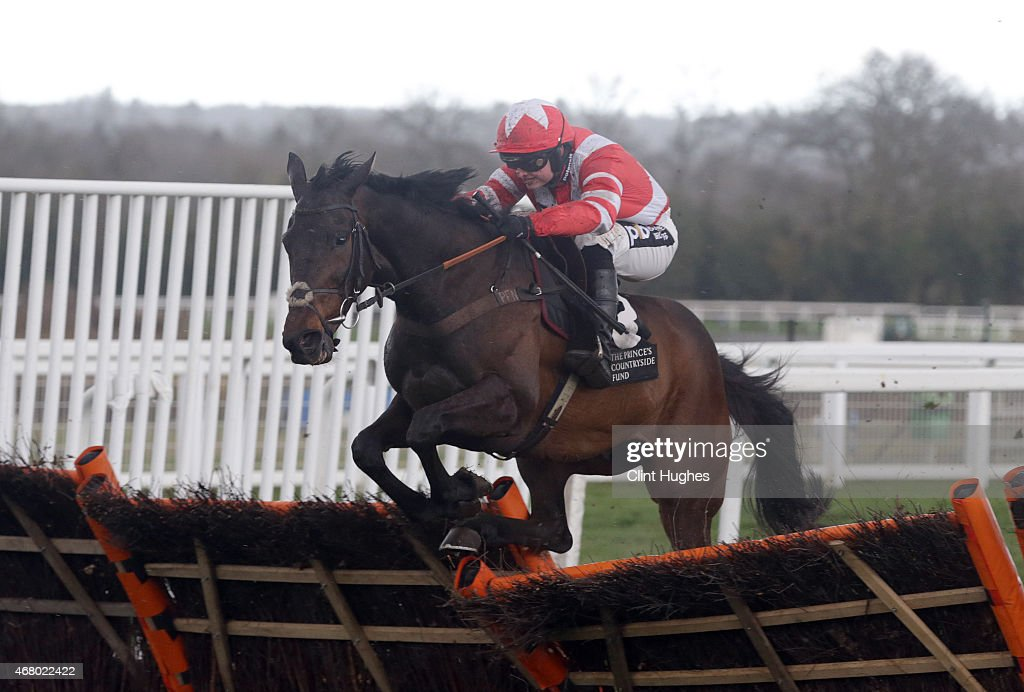 Sean Bowen riding Morito Du Berlais clears the last hurdle and wins the Tindle Newspapers Conditional Jockeys' Handicap Hurdle at Ascot Racecourse on March 29, 2015 in Ascot, England.