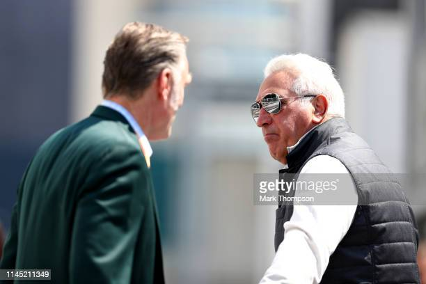 Sean Bratches Managing Director of the Formula One Group talks with Owner of Racing Point Lawrence Stroll before practice for the F1 Grand Prix of...
