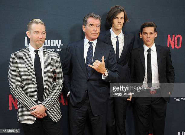 Sean Brosnan Pierce Brosnan Dylan Brosnan and Paris Brosnan arrive at the premiere of The Weinstein Company's No Escape at Regal Cinemas LA Live on...