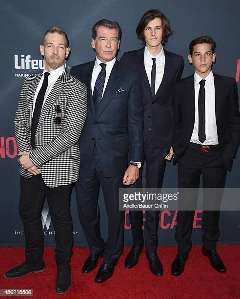 Sean Brosnan Pierce Brosnan Dylan Brosnan and Paris Brosnan arrive at the premiere of The Weinstein Company's 'No Escape' at Regal Cinemas LA Live on...