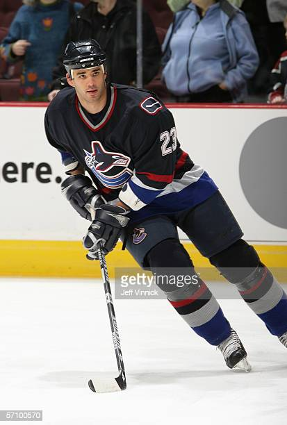 Sean Brown of the Vancouver Canucks skates during warm up prior to their game against the Dallas Stars at General Motors Place on March 11, 2006 in...