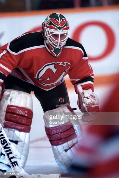 Sean Burke of the New Jersey Devils skates against the Toronto Maple Leafs during NHL game action on February 18 1989 at Maple Leaf Gardens in...