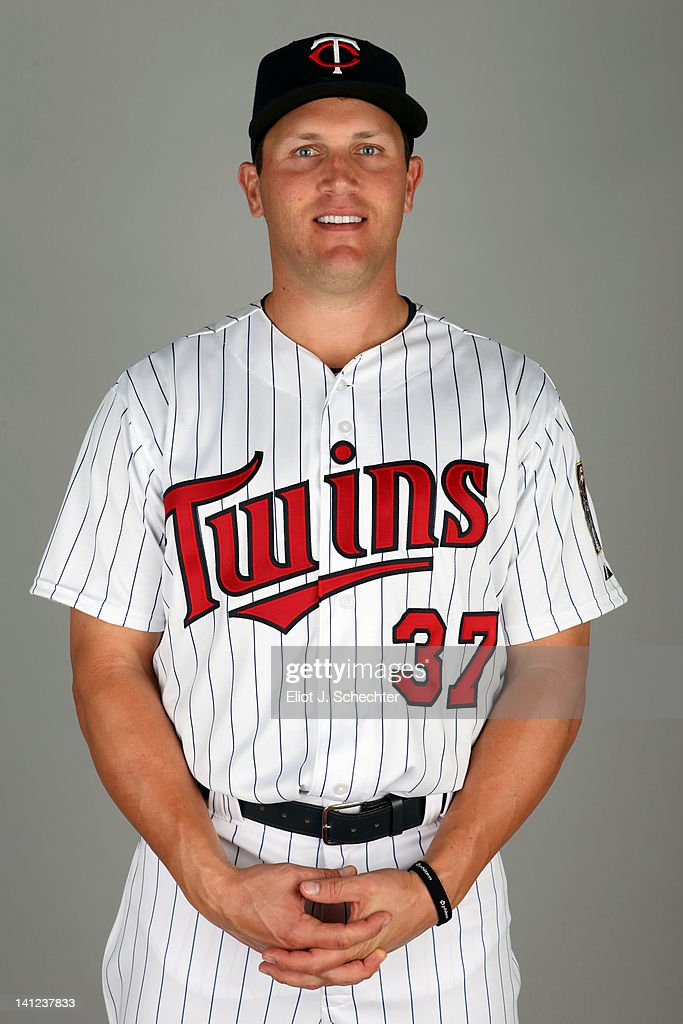 Sean Burroughs (37) of the Minnesota Twins poses during Photo Day on Monday, February 27, 2012 at Hammond Stadium in Fort Myers, Florida.