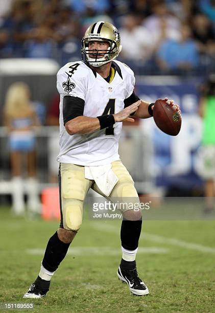 Sean Canfield of the New Orleans Saints looks to throw downfield against the Tennessee Titans at LP Field on August 30 2012 in Nashville Tennessee