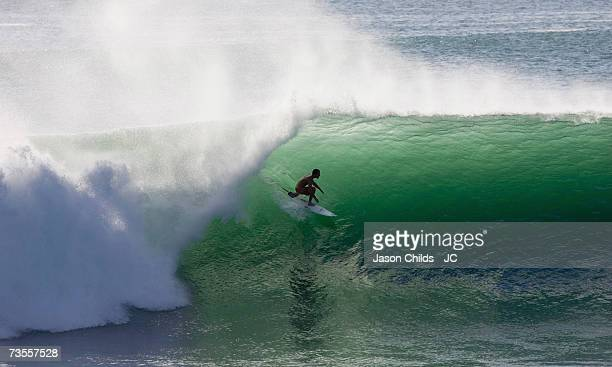 Sean Cansdell from Australia surfs at Padang Padang August 4 2006 in Bali Indonesia
