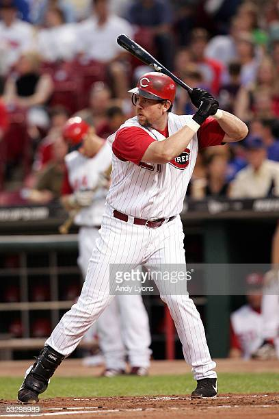 Sean Casey of the Cincinnati Reds bats against the Chicago Cubs during the game on September 16, 2004 at Great American Ballpark in Cincinnati, Ohio....