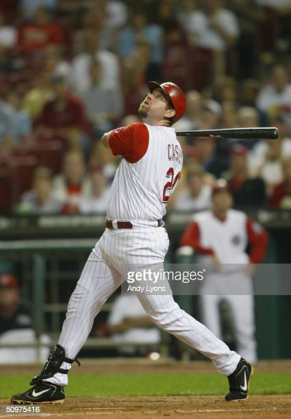 Sean Casey of the Cincinnati Reds follows the hit during the game against the Colorado Rockies on May 19 2004 at Great American Ballpark in...