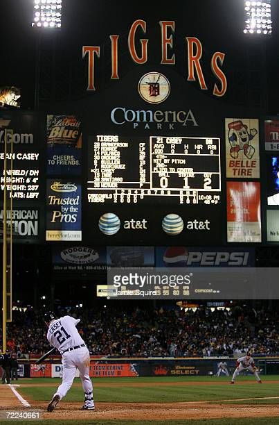 Sean Casey of the Detroit Tigers hits a RBI single to score Carlos Guillen in the fifth inning against the St Louis Cardinals during Game Two of 2006...