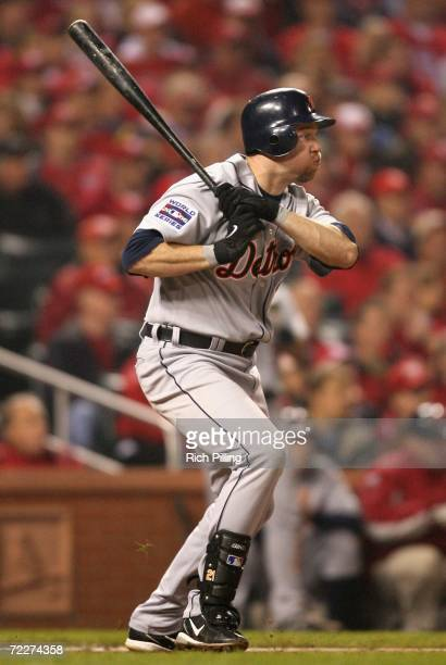 Sean Casey of the Detroit Tigers hits a single against the St. Louis Cardinals during Game Four of the 2006 World Series on October 26, 2006 at Busch...