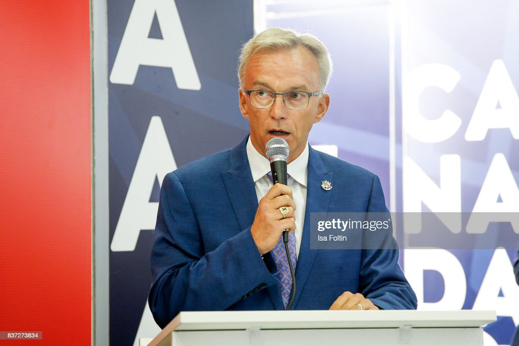 Sean Casey, parliamentary secretary to the Minister of Canadian Heritage, speaks during the Gamescom 2017 gaming trade fair on August 22, 2017 in Cologne, Germany. Gamescom is the world's largest digital gaming trade fair and will be open to the public from August 22-26.