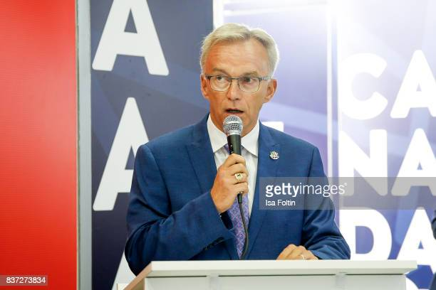 Sean Casey parliamentary secretary to the Minister of Canadian Heritage speaks during the Gamescom 2017 gaming trade fair on August 22 2017 in...