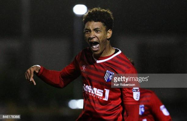 Sean Clare of Gillingham celebrates scoring during the Sky Bet League One match between A.F.C. Wimbledon and Gillingham at The Cherry Red Records...