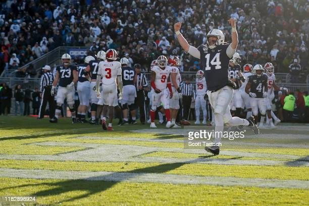 Sean Clifford of the Penn State Nittany Lions celebrates after scoring a touchdown against the Indiana Hoosiers during the fourth quarter at Beaver...