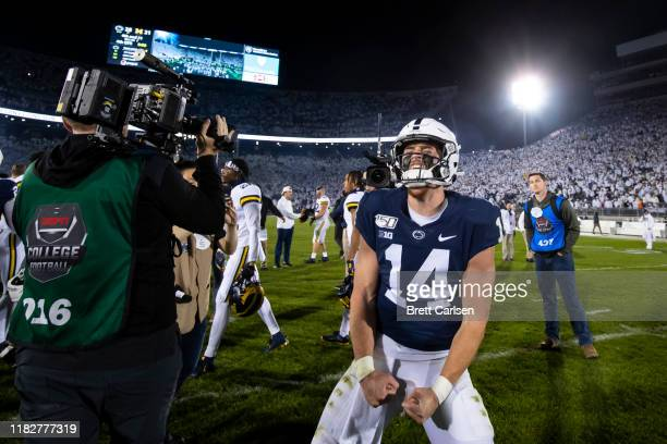 Sean Clifford of the Penn State Nittany Lions celebrates after the game against the Michigan Wolverines on October 19 2019 at Beaver Stadium in...