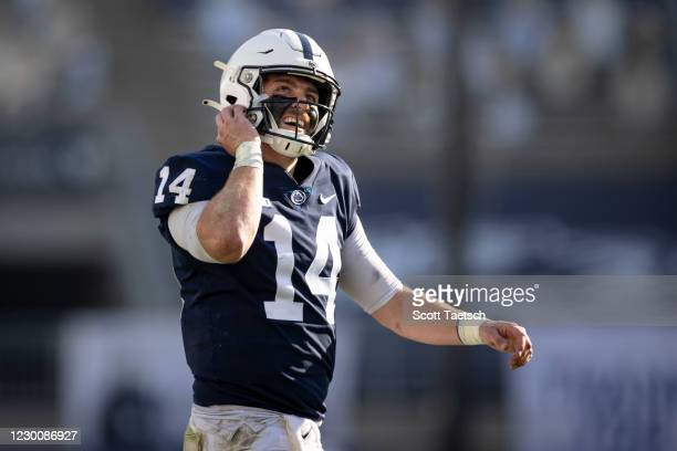 Sean Clifford of the Penn State Nittany Lions reacts after scoring a touchdown against the Michigan State Spartans during the first half at Beaver...