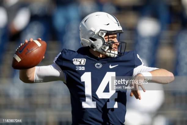 Sean Clifford of the Penn State Nittany Lions warms up before the game against the Indiana Hoosiers at Beaver Stadium on November 16 2019 in State...