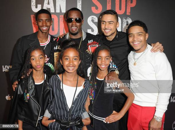 Sean Combs and his children arrive at the Los Angeles Premiere Of Can't Stop Won't Stop at Writers Guild of America West on June 21 2017 in Los...