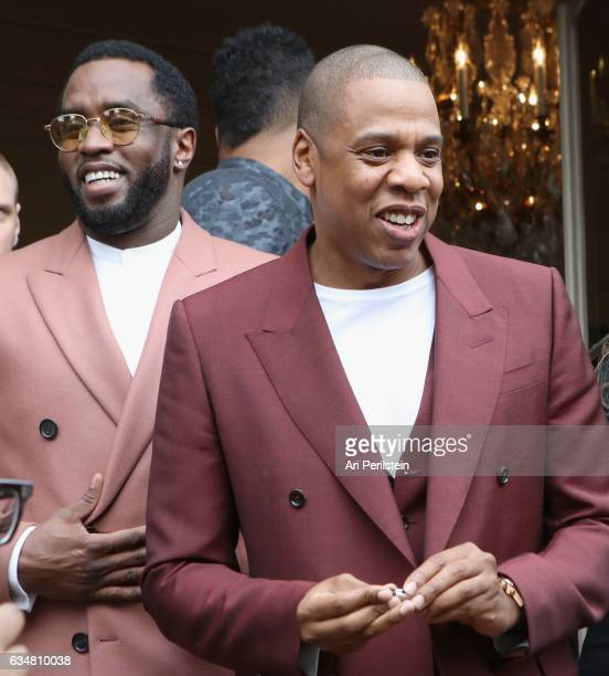 Sean Combs and JayZ attend 2017 Roc Nation PreGrammy Brunch at Owlwood Estate on February 11 2017 in Los Angeles California