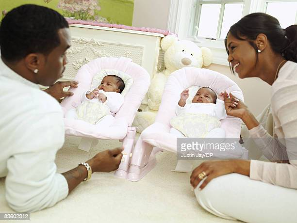 Sean Combs and Kim Porter at their home in New Jersey with twin baby daughters D'Lila Star and Jessie James on January 24 2007 Credits Kim Porter's...