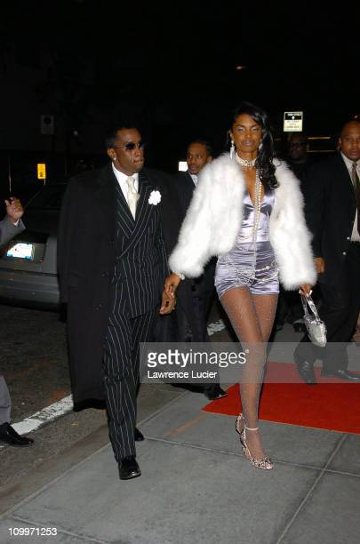 Sean Combs and Kim Porter during Usher's 26th Birthday Party at Rainbow Room in New York City New York United States