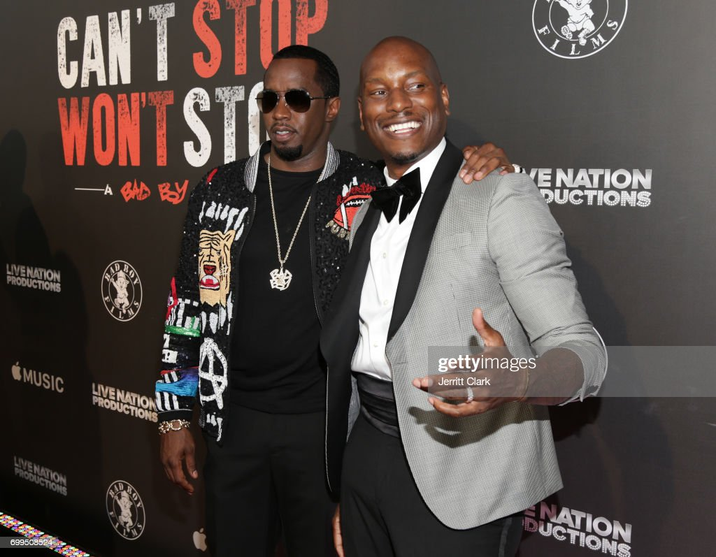 Sean Combs and Tyrese attend the Los Angeles Premiere Of 'Can't Stop Won't Stop' at Writers Guild of America, West on June 21, 2017 in Los Angeles, California.