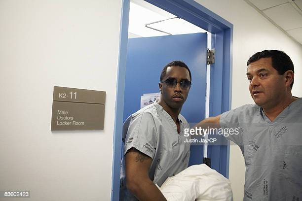 Sean Combs at Mt Sinai hospital in New York after Kim Porter gave birth to their twin daughters D'Lila Star and Jessie James on December 21 2006