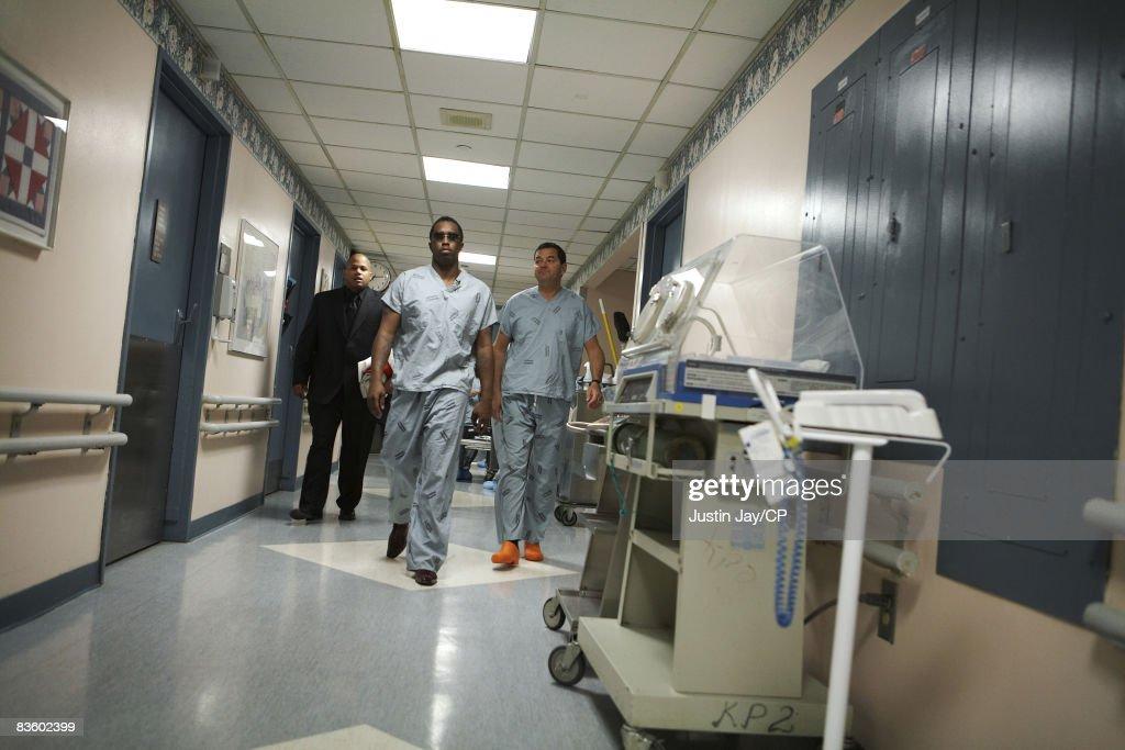 Sean Combs at Mt  Sinai hospital in New York, before Kim