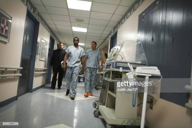 Sean Combs at Mt Sinai hospital in New York before Kim Porter gave birth to their twin daughters D'Lila Star and Jessie James on December 21 2006