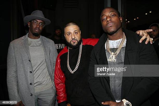 Sean Combs DJ Khaled and Ace Hood attend the NBPA Gala at Cipriani Downtown during NBA AllStar Weekend on February 14 2015 in New York New York