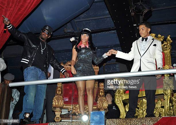 Sean Combs introduces his son Justin Combs and his date Nicki Minaj at Justin Dior Combs's sweet sixteen birthday celebration held at M2 Ultra Lounge...