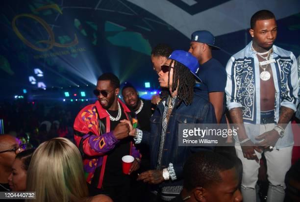 Sean Combs Pierre Pee' Thomas Wiz Khalifa and Kollision attend the Million Dollar Bowl at The Dome Miami on February 3 2020 in Miami Florida